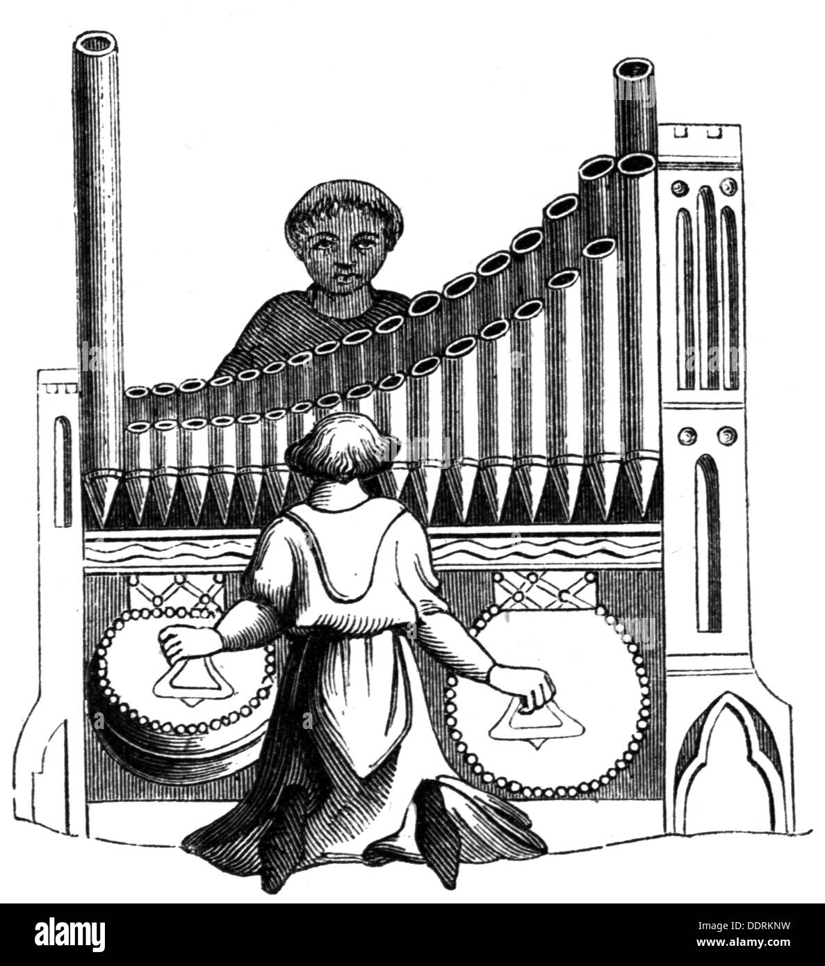 music, instruments, keyboard instrument, organ, after miniature, 14th century, wood engraving, 19th century, organ pipe, organ pipes, musician, musicians, pair of bellows, bag bellow, keyboard instrument, aerophone, Middle Ages, musical instrument, instrument, musical instruments, instruments, people, men, man, male, organ, organs, miniature, miniatures, historic, historical, medieval, Additional-Rights-Clearences-NA - Stock Image