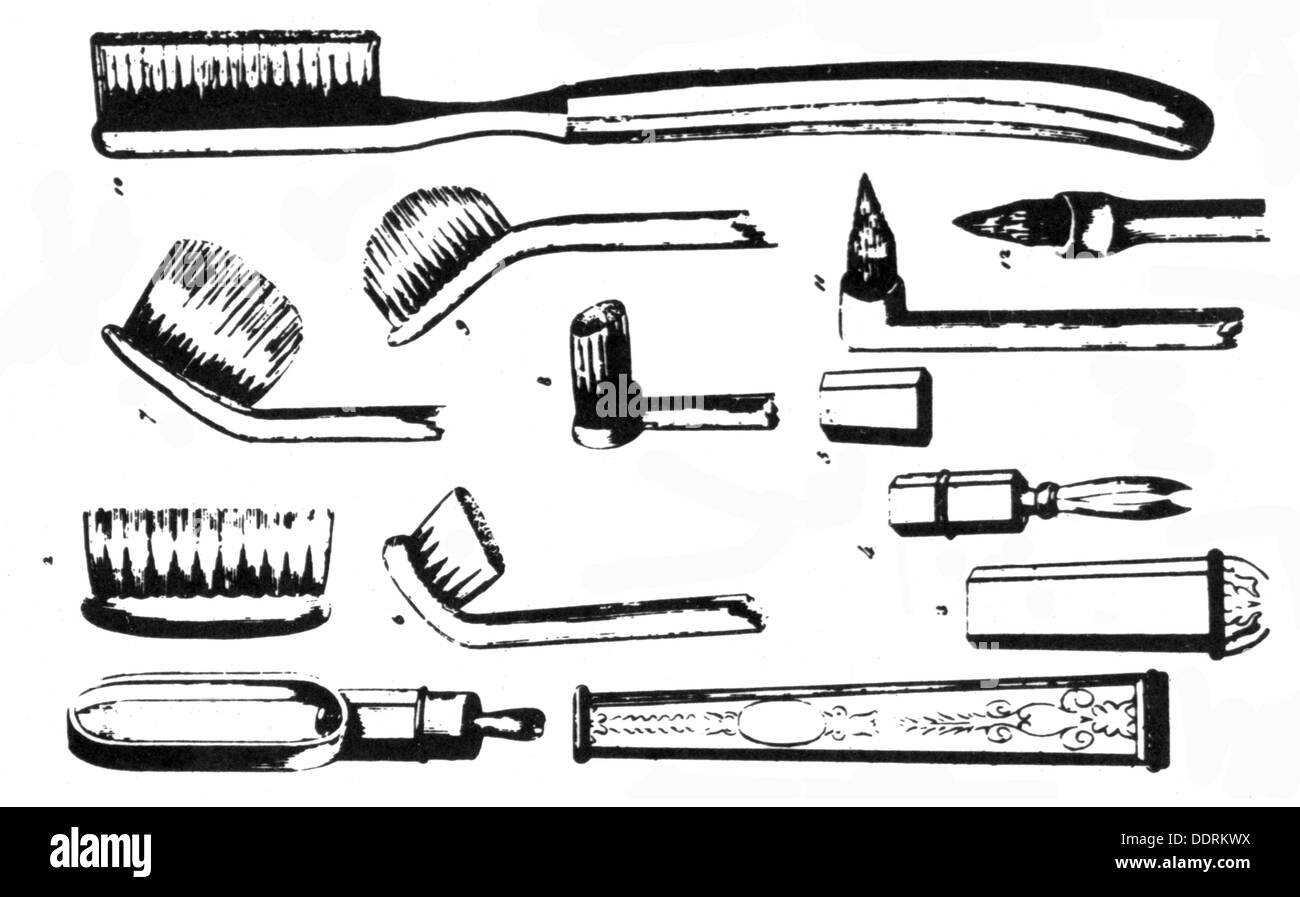 medicine, dentistry, different tooth-brushes according to description by Maury and Bell, drawing, circa 1835, Additional-Rights-Clearences-NA - Stock Image