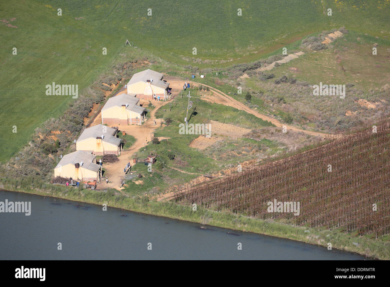 Aerial view of farm houses for farm labourers in the Ceres area, Western Cape Province, South Africa - Stock Image