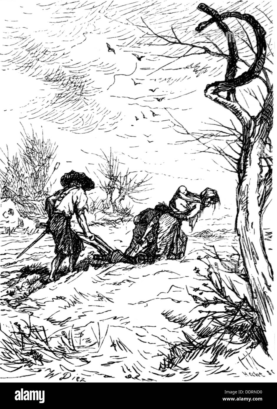 Thirty Years' War 1618 - 1648, hardship and misery, a farmer's wife drawing the plough, drawing by W. Diez, 'History of the Thirty Years' War'  by Friedrich Schiller, 1790, Additional-Rights-Clearences-NA - Stock Image