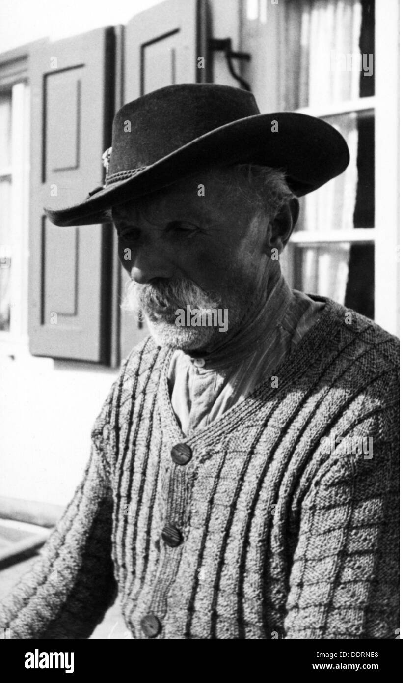 agriculture, farmer, old Bavarian farmer, portrait, Mittenwald, 1950s, Additional-Rights-Clearences-NA - Stock Image
