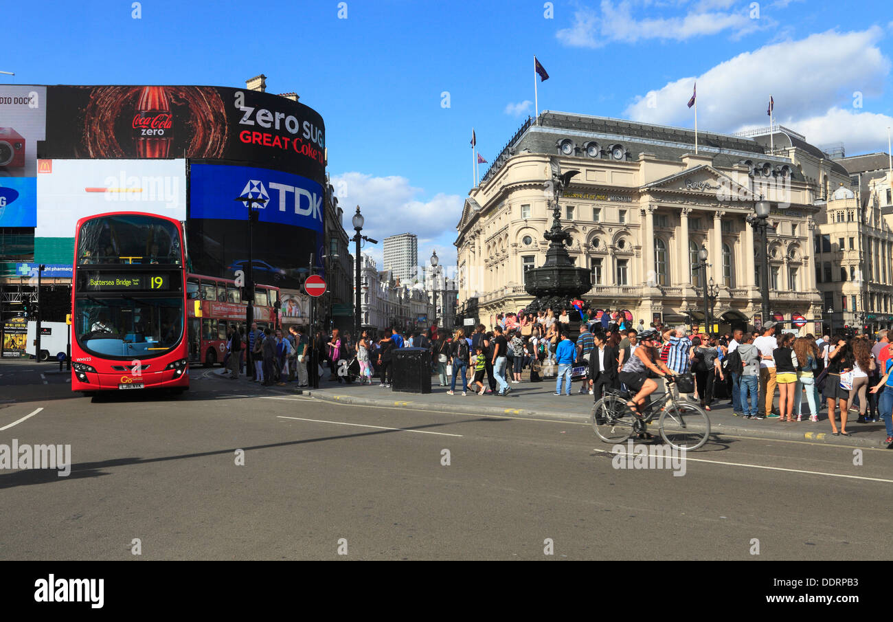 PIccadilly Circus with statue Eros London - Stock Image