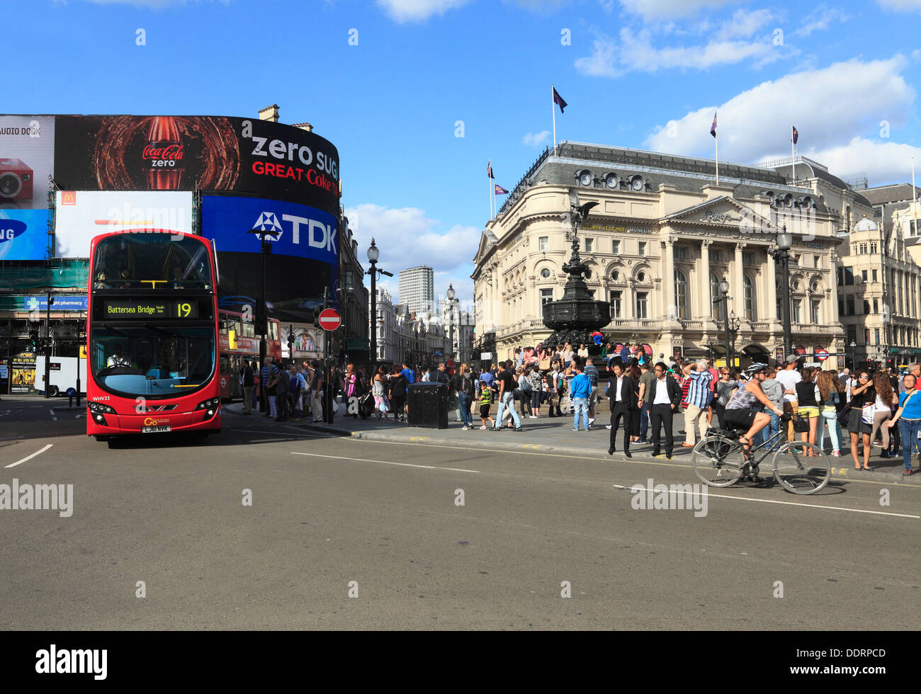 PIccadilly Circus with statue of Eros London - Stock Image