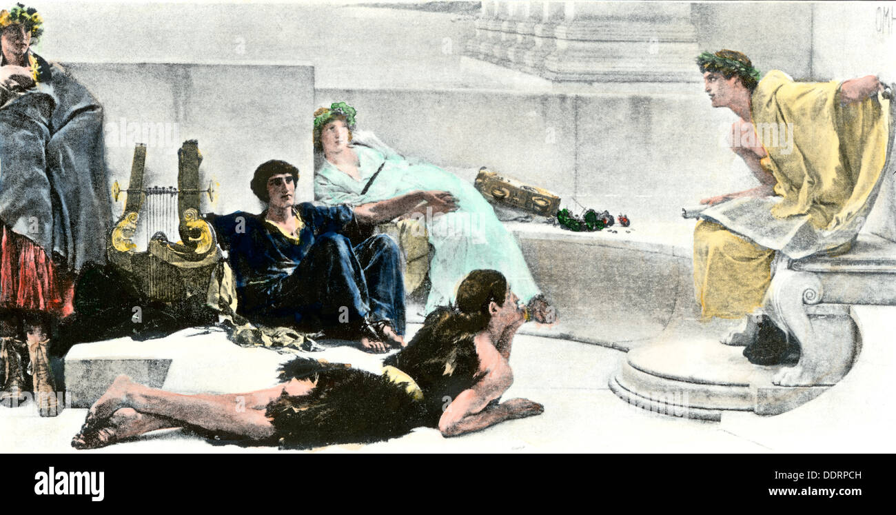 Epic tales from Homer recited in ancient Greece. Hand-colored halftone of an illustration - Stock Image