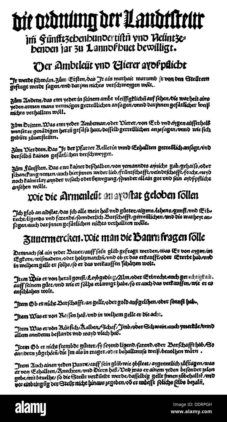 money / finances, interest and taxes, land tax rule, broadsheet, print: J.Weyssenburger, Landshut, 1519, Additional-Rights-Clearences-NA - Stock Image
