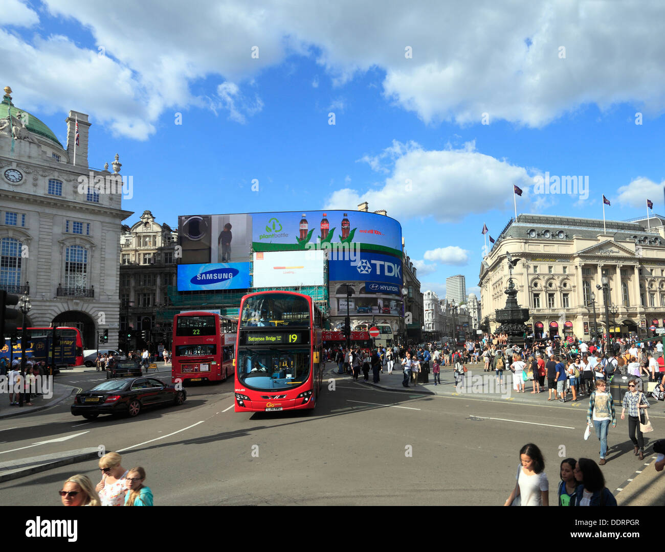 PIccadilly Circus with statue of Eros in London - Stock Image
