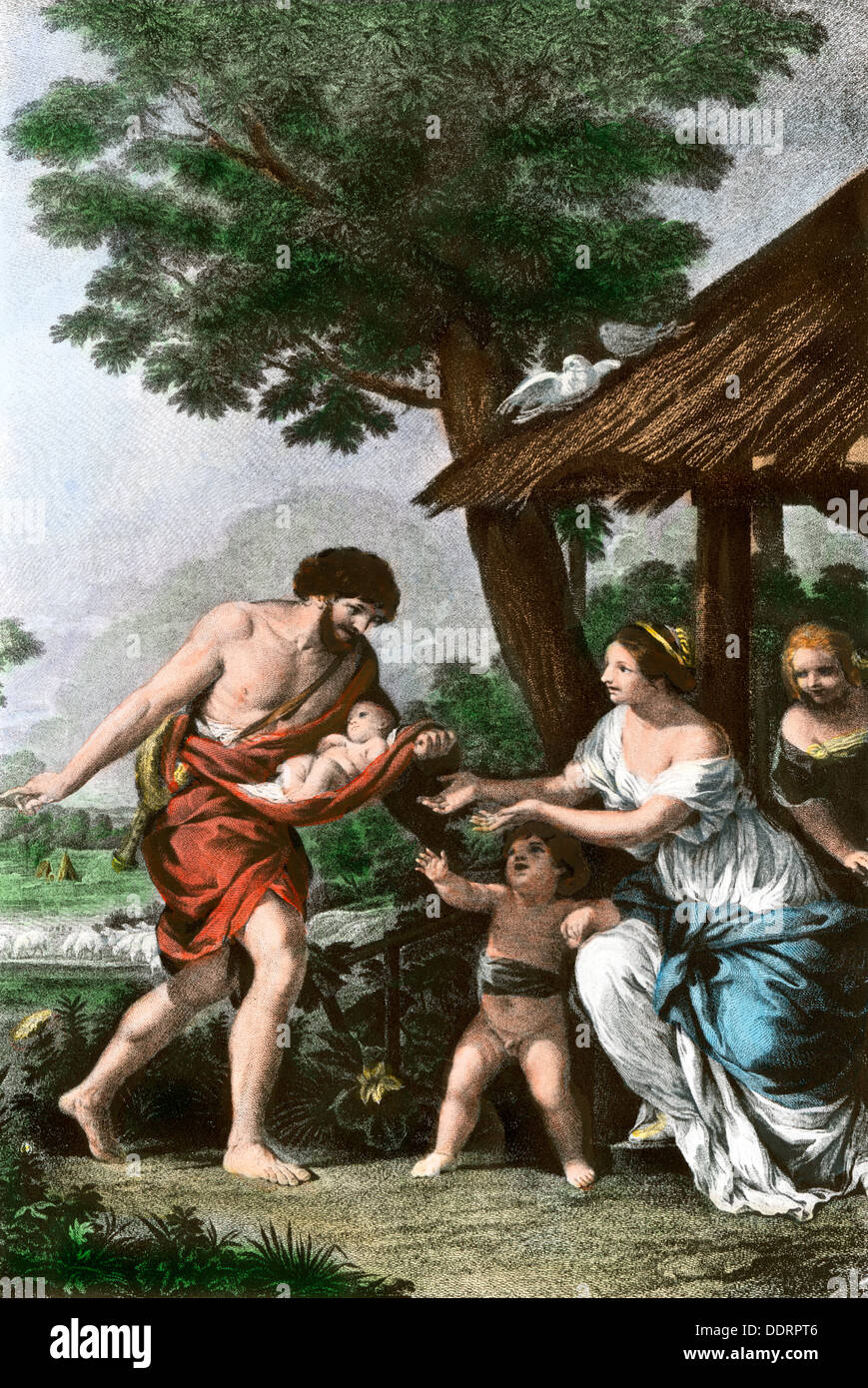 Discovery of the orphaned twins Romulus and Remus, who became the founders of Rome. Hand-colored halftone of an illustration - Stock Image