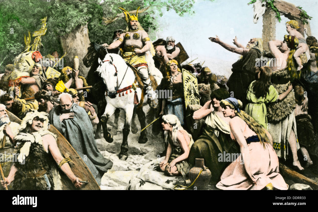 Hermann returning from the Cheruscis' victory over the Romans, 9 AD. Hand-colored halftone of an illustration - Stock Image