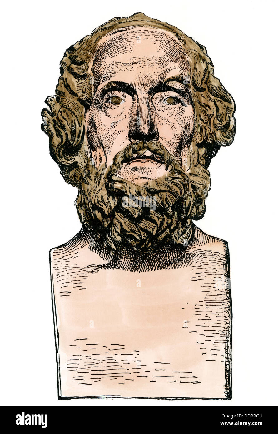 Bust of the Greek poet Homer. Hand-colored woodcut - Stock Image
