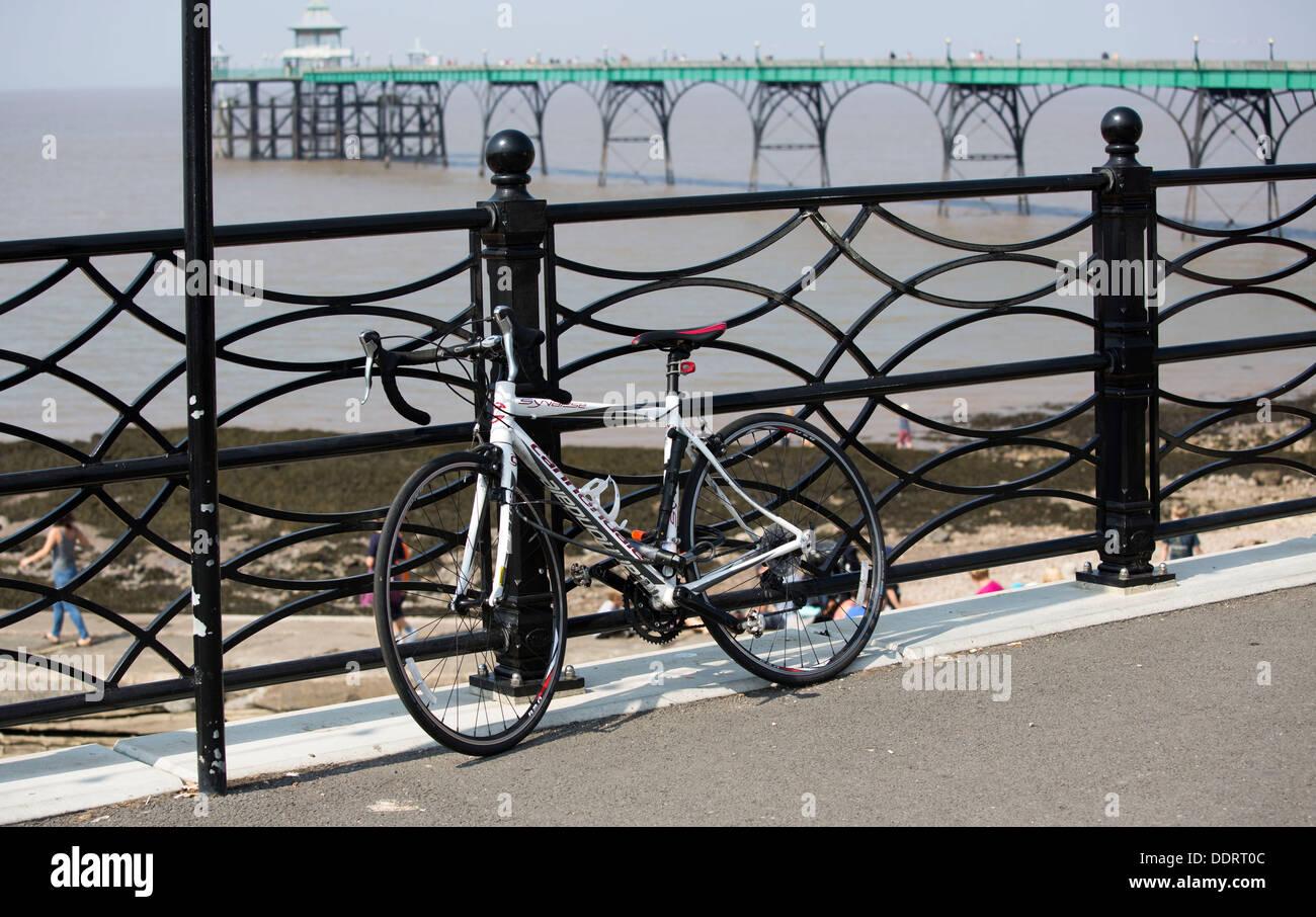 Bike cycle bicycle racing road secured railings padlocked - Stock Image