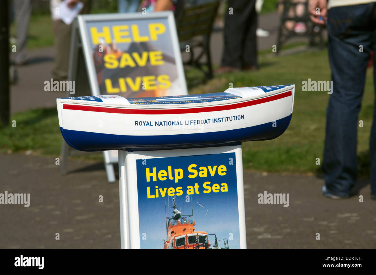 Roayl National lifeboat institution RNLI collection box - Stock Image