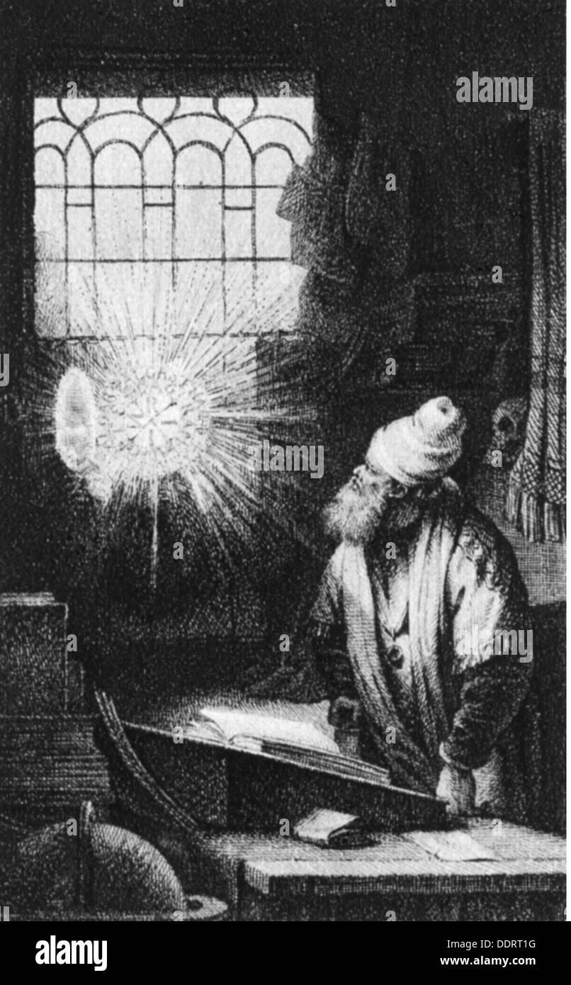 Goethe, Johann Wolfgang von, 28.8.1749 - 22.3.1832, German author / writer, works, 'Faust - Ein Fragment', cover picture of the first edition, after etching by Rembrandt van Rijn, copper engraving by Johann Heinrich Lips (1758 - 1817), Leipzig, 1790, Artist's Copyright has not to be cleared - Stock Image