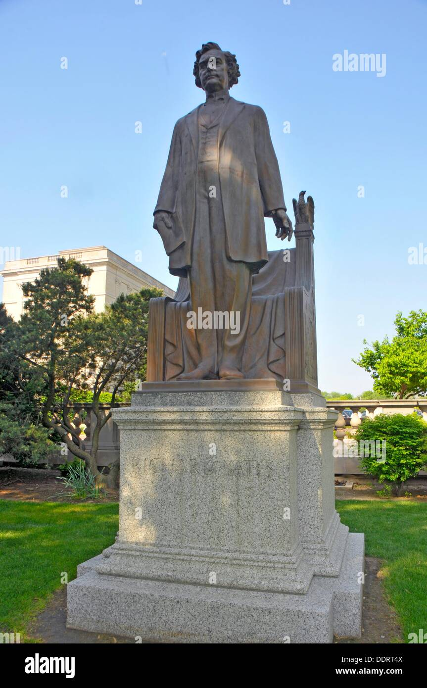 Governor Richard Yates Statue Illinois State Capitol Building Springfield Illinois - Stock Image