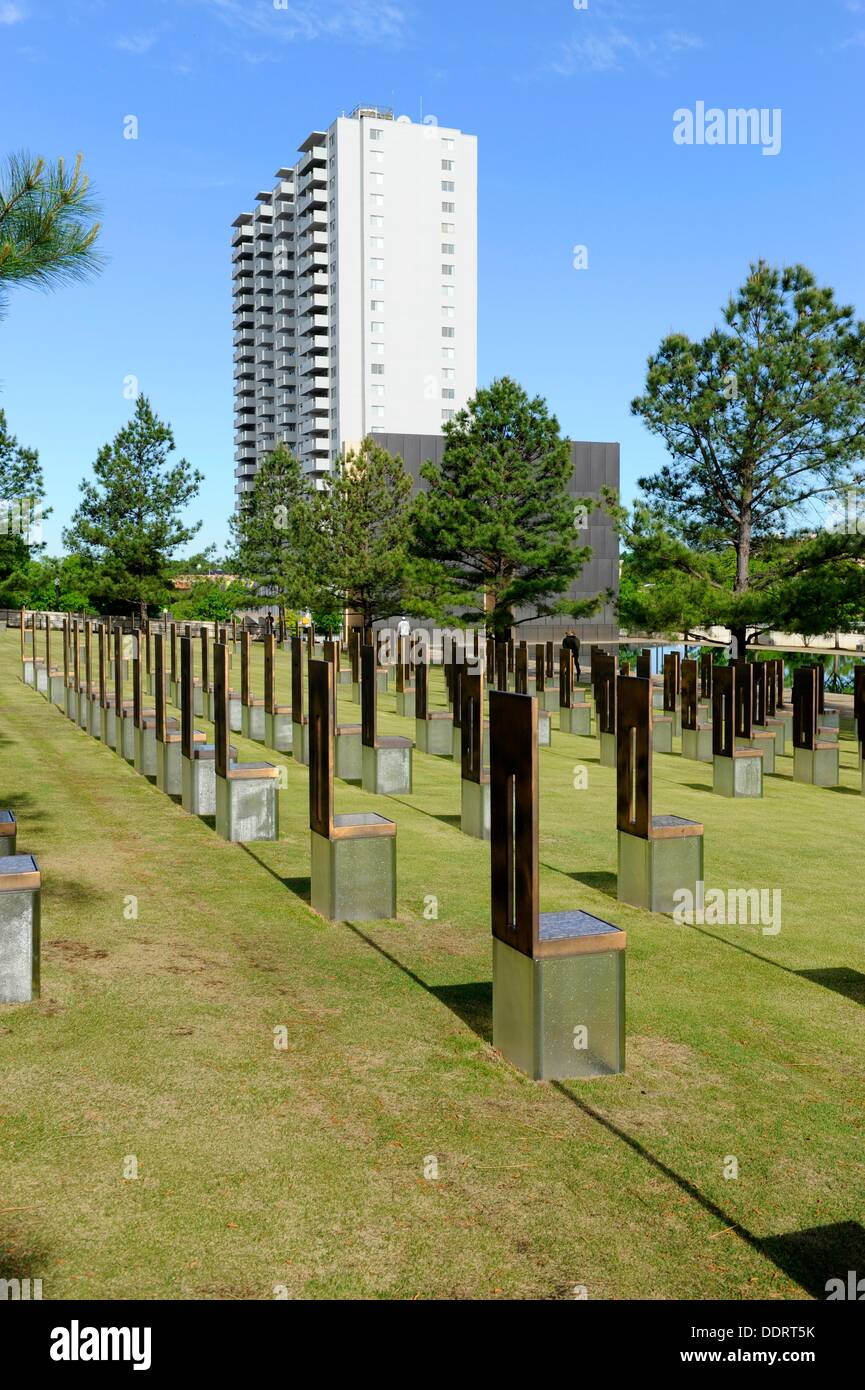 Field of empty chairs Oklahoma City National Memorial Bombing Site Alfred P Murrah Building Stock Photo
