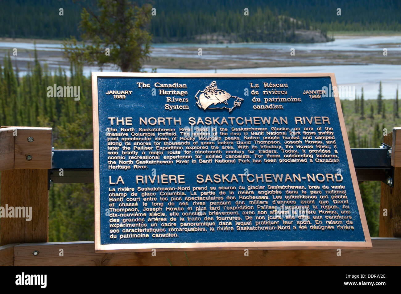 Interpretive board at Howse River Viewpoint, Banff National Park, Alberta, Canada - Stock Image