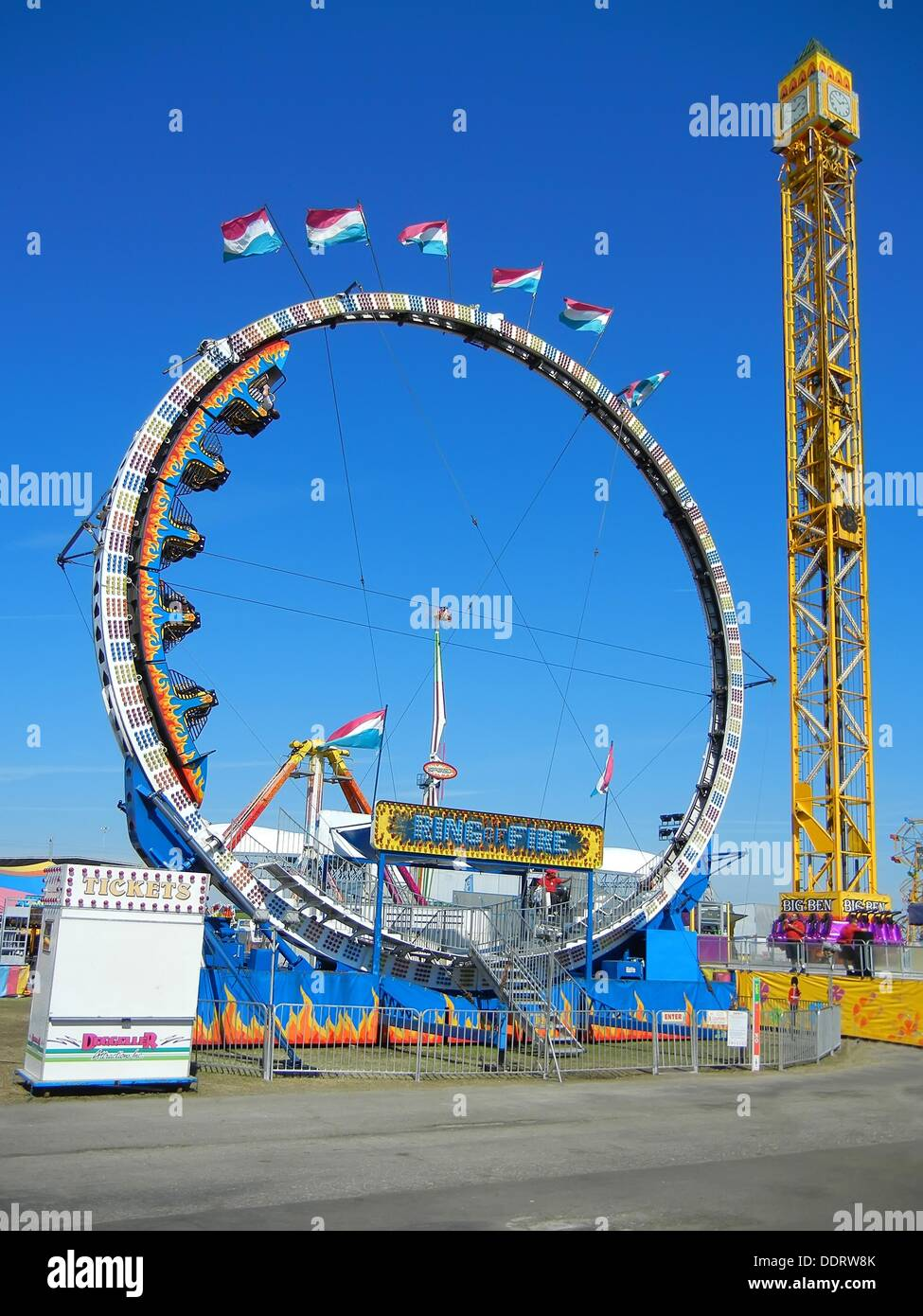Florida State Fair Tampa Florida Ring of Fire ride Stock Photo