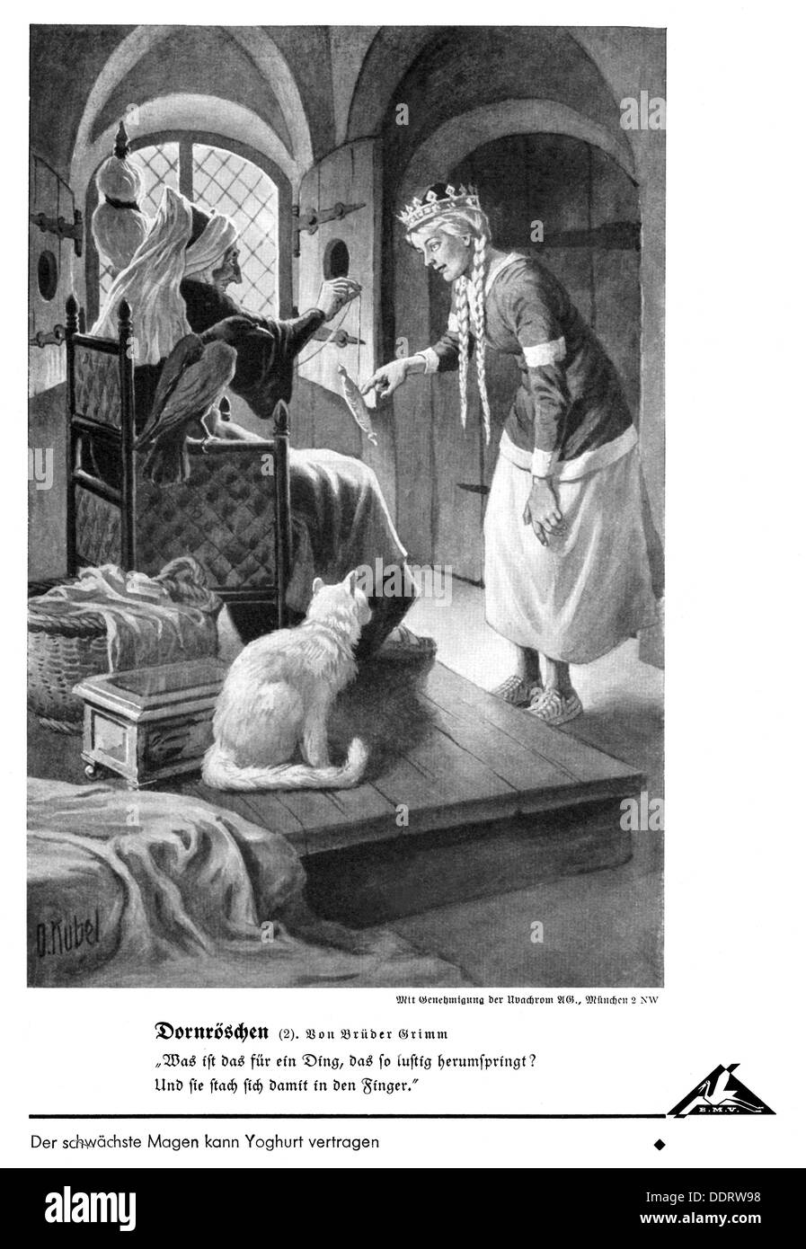 literature, fairy tales, Grimm Brothers, 'Sleeping Beauty', Sleeping Beauty and the old lady with the spindle, illustration by Otto Kubel (1868 - 1951), from: 'Bilderatlas zu den bayerischen Lesebüchern' (Picture Atlas to the Bavarian Storybooks), fairy tales, editor: Bayerische Milchversorgung, Nuremberg, print: F.Bruckmann AG, Munich, late 1930s, Additional-Rights-Clearences-NA - Stock Image