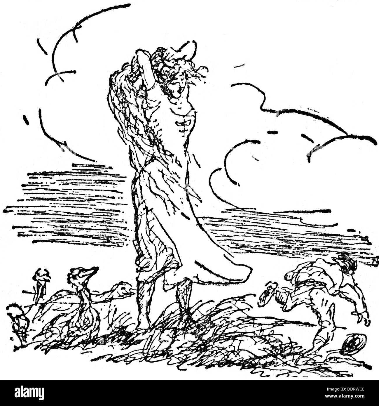 literature, fairy tales, Grimm Brothers, 'The Goose Girl', drawing by Max Slevogt (1868 - 1932), from: 'Kunst und Künstler', volume XVI, Verlag von Bruno Cassirer, Berlin, 1918, Additional-Rights-Clearences-NA - Stock Image