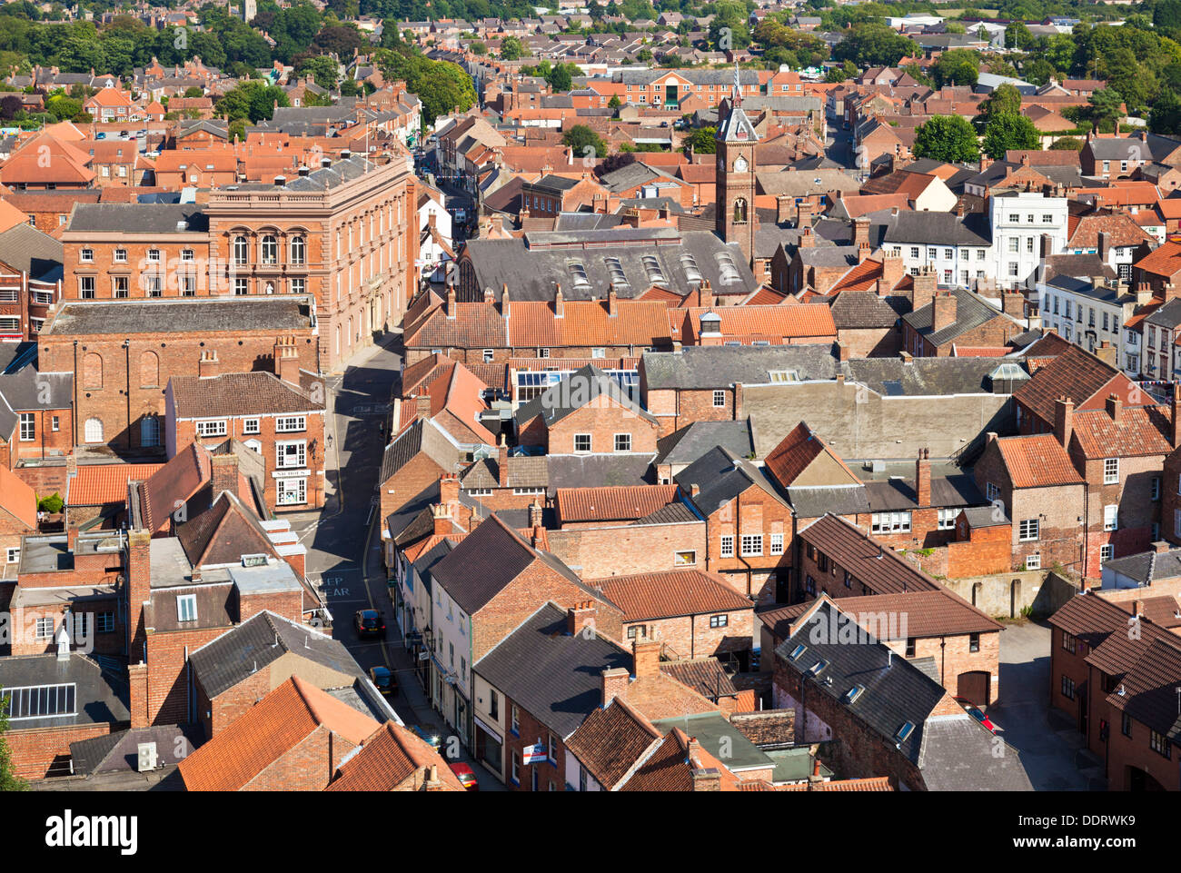 Aerial view of the houses and streets of the small town of Louth Lincolnshire England UK GB EU Europe - Stock Image