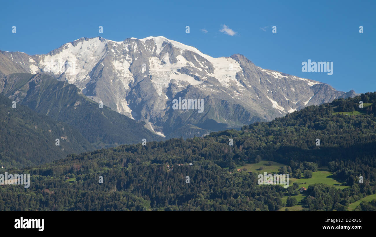 Domes de Miage in the Mont-Blanc massif from Passy, Haute-Savoie, France. - Stock Image