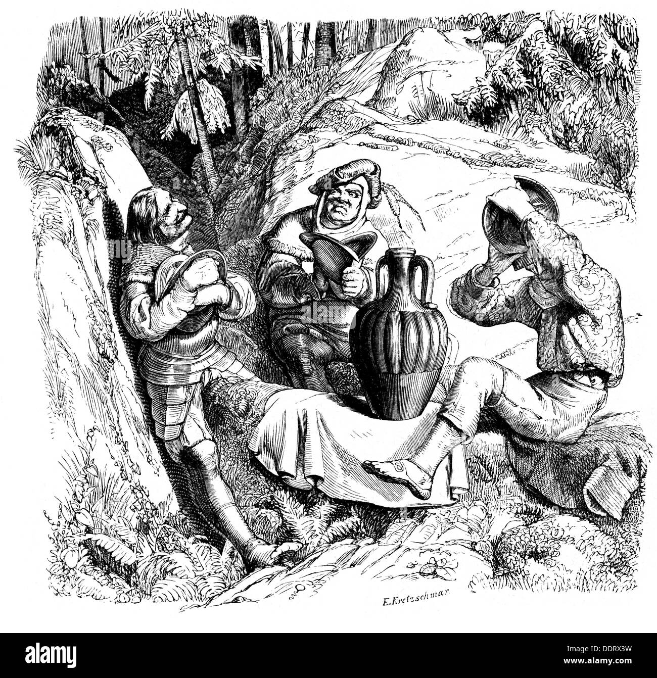 literature, fairy tales, 'Roland's Squires' by Johann Karl August Musäus (1735 - 1787), after drawing by Adolf Schroedter (1805 - 1875), wood engraving by E.Kretzschmar, 19th century, Additional-Rights-Clearences-NA - Stock Image