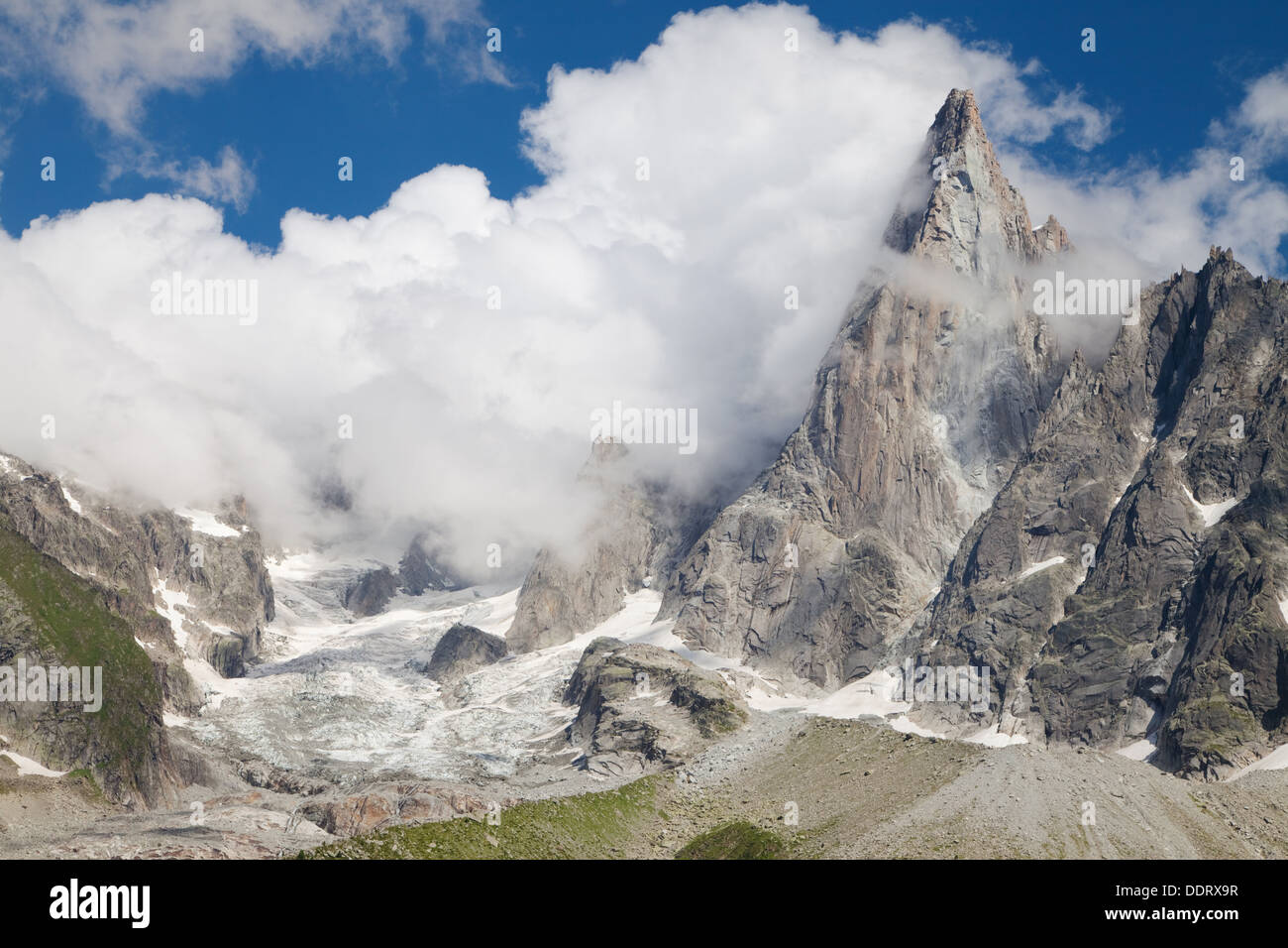 Glacier and Aiguille du Dru in the Mont Blanc massif, French Alps. Stock Photo