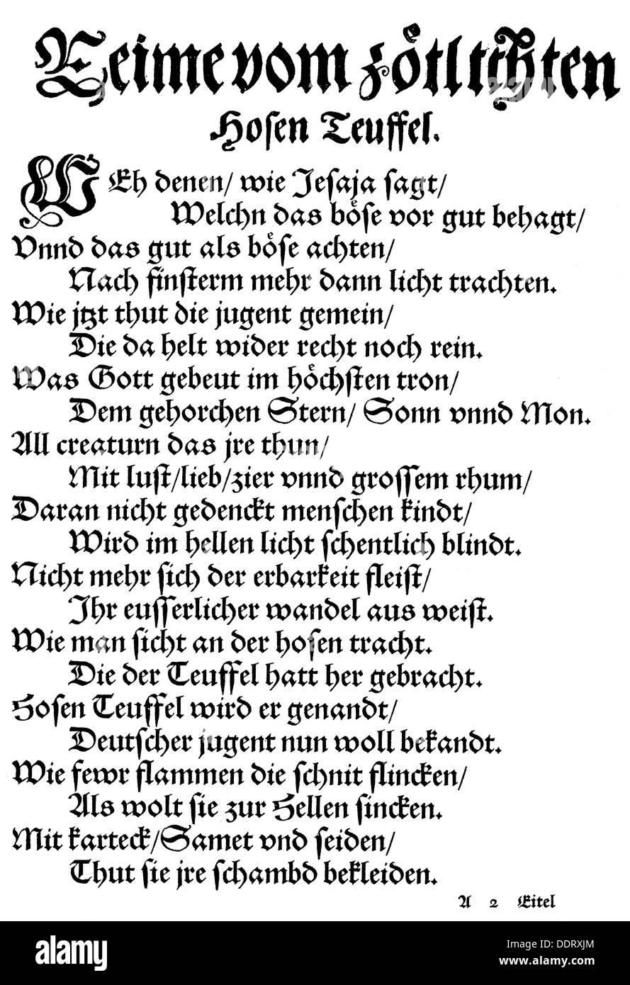 Musculus, Andreas, 29.11.1514 - 29.9.1581, German reformer, works, 'Vom Hosenteufel' (Trouser Devil), Frankfurt an der Oder, 1555, Additional-Rights-Clearances-NA - Stock Image