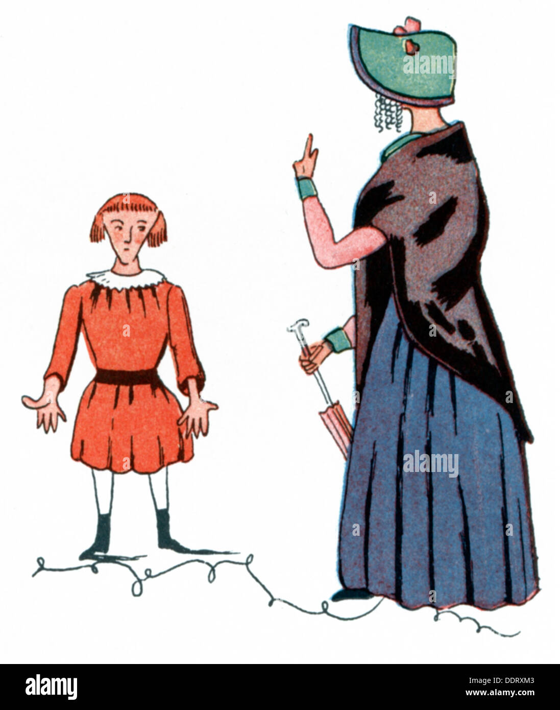 literature, 'Der Struwwelpeter', The Story of the Thumb-Sucker, by Heinrich Hoffmann (1809 - 1894), 1845, illustration, first edition, 1845, Additional-Rights-Clearences-NA - Stock Image