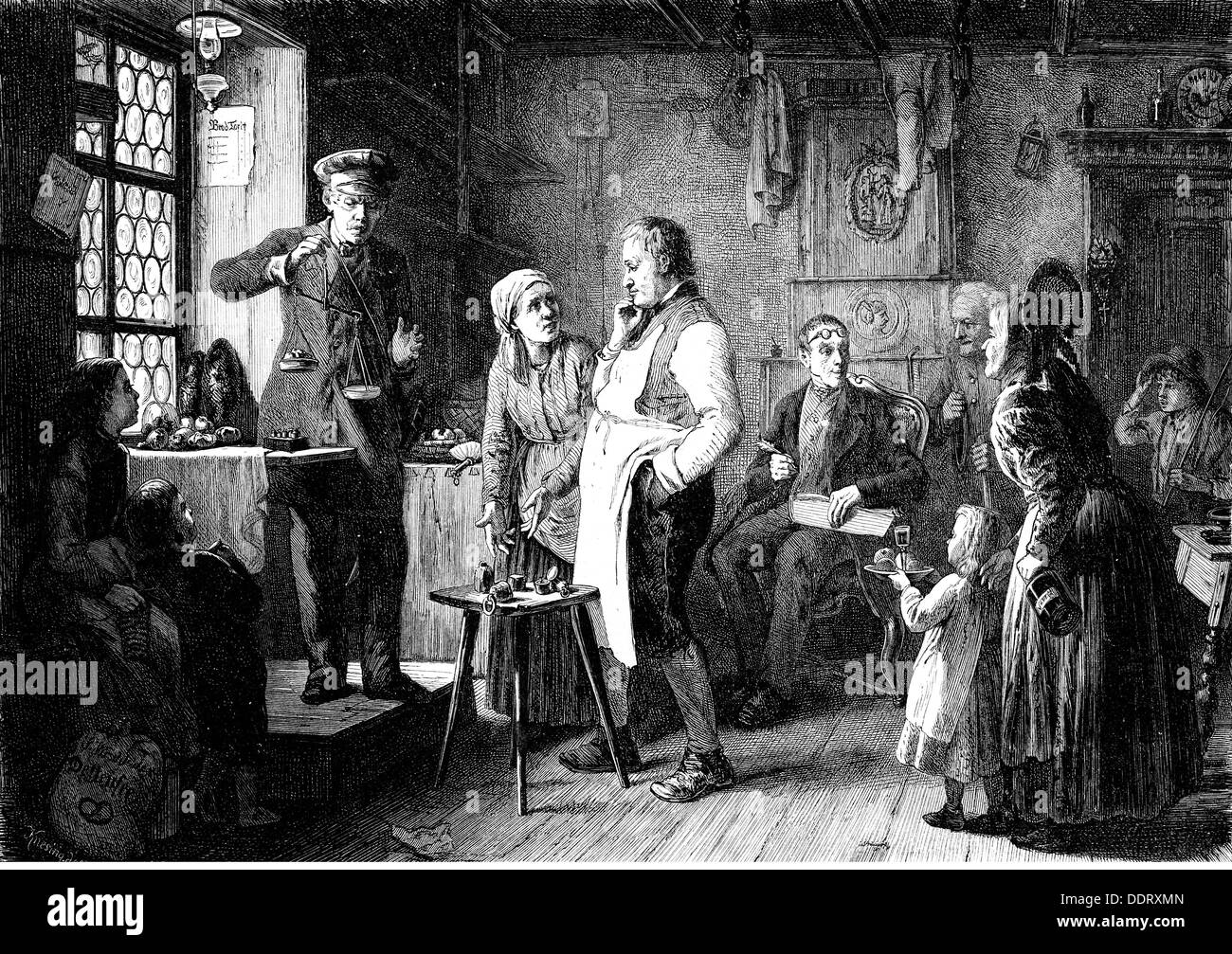 measure and weight, baker receiving new weights, after painting 'Die Brodvisitation' by Salomon Hirschfelder (1831 - 1903), 1876, wood engraving by Knesing, out of: 'Die Gartenlaube', Leipzig, late 19th century, Additional-Rights-Clearences-NA - Stock Image