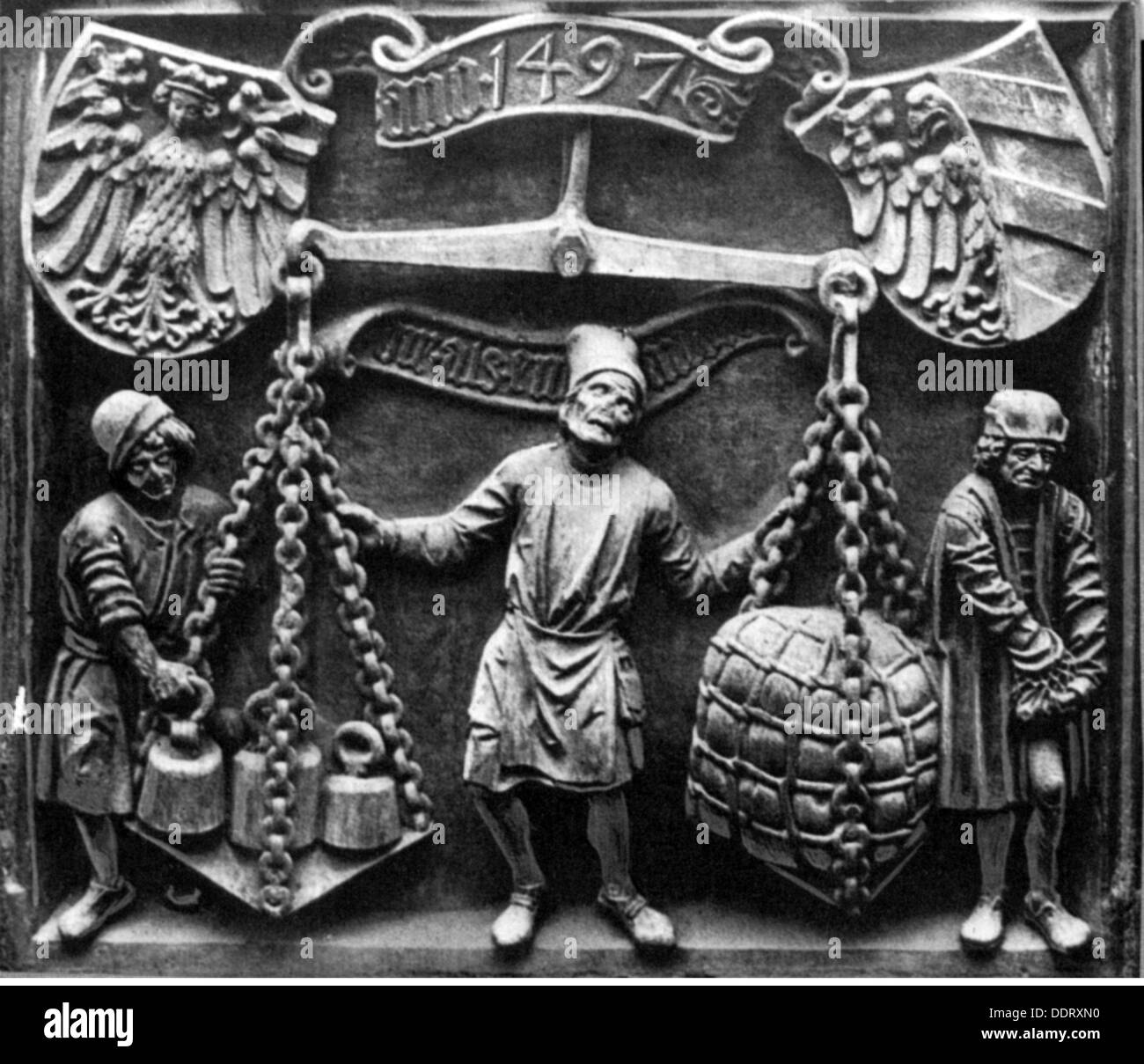 trade, merchants, weighing of the wares and payment of the taxes, relief, by Adam Kraft (1455 / 1460 - 1509), Nuremberg, 1497, Additional-Rights-Clearences-NA - Stock Image