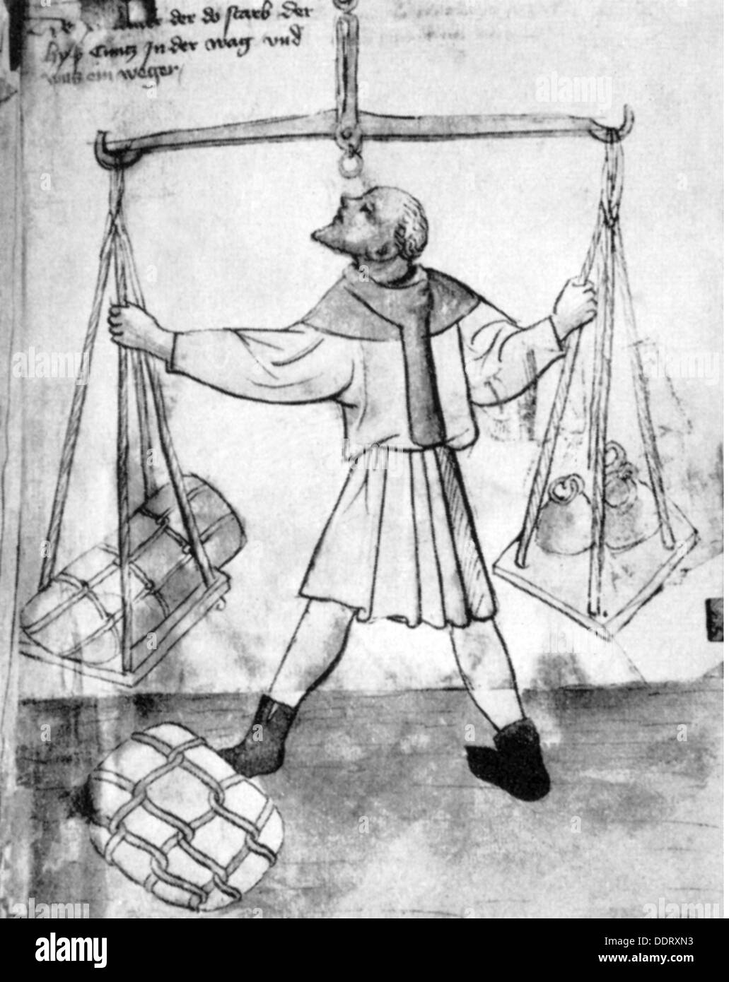measure and weight, check weighman, washed pen drawing, from the housebook of the 'Mendelsche Zwölfbrüderstiftung', circa 1400, city library, Nuremberg, Additional-Rights-Clearences-NA - Stock Image