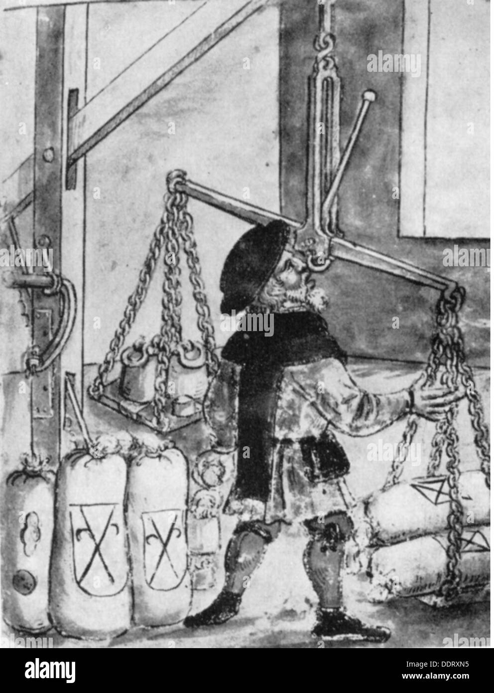 measure and weight, check weighman at flour scales, after coloured pen drawing, from the housebook of the 'Landauersche Zwölfbrüderstiftung', mid 16th century, Additional-Rights-Clearences-NA - Stock Image