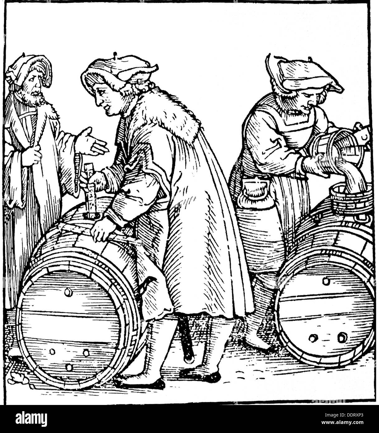 measure and weight, official verification, evaluation of the volume of barrels, woodcut, title page from: Johann Frey, 'Ein new Visier büchlein', print: Johann Stüchs, Nuremberg, 1531, Additional-Rights-Clearences-NA - Stock Image