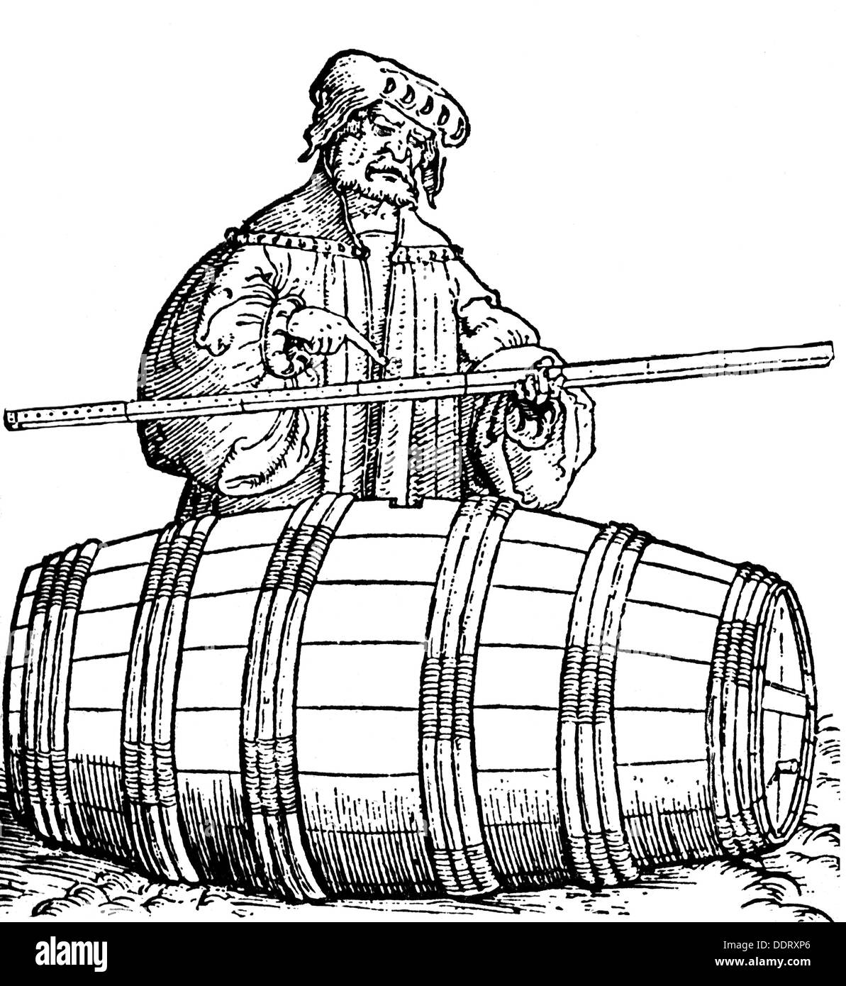 measure and weight, official verification, evaluation of the volume of a barrel, woodcut, from: Ulrich Kern, 'Ein neu künstlichs wolgegründts Visierbuch', print: Johann Schöffer, Peter Schwintzer, Strasbourg, 1531, Additional-Rights-Clearences-NA - Stock Image
