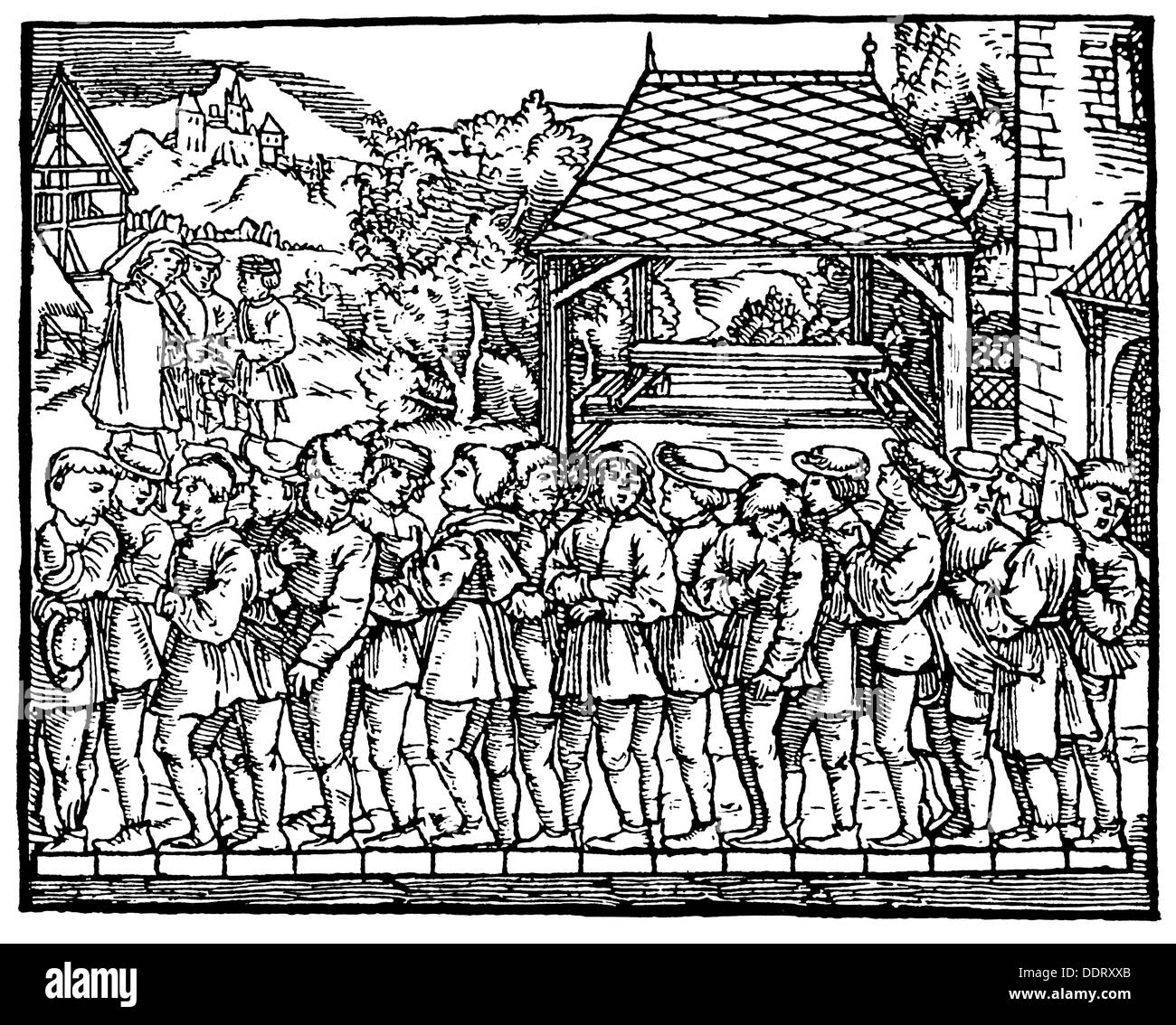 measure and weight, illustration of a rod by sequence of sixteen feet, woodcut, out of: Jakob Köbel (1462 - 1533), 'Geometrey', Frankfurt, 1616, Additional-Rights-Clearences-NA - Stock Image