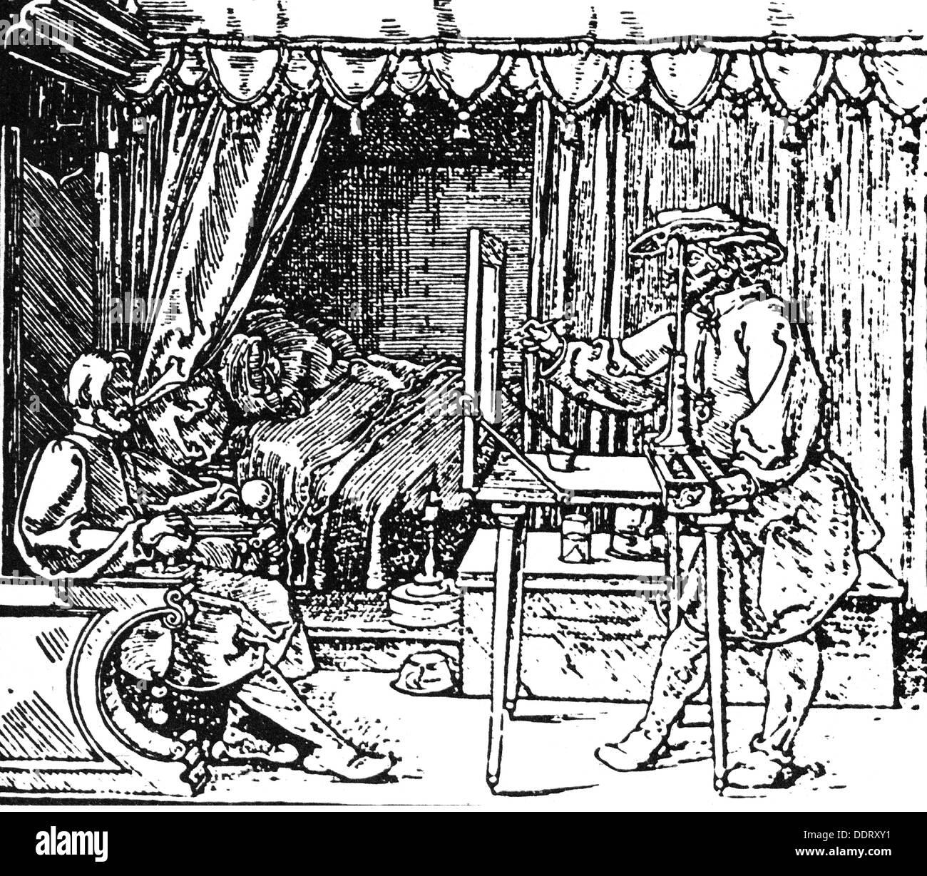 Dürer, Albrecht, 21.5.1471 - 6.4.1528, German painter and graphic artist, 'Underweysung der Messung' (Book on Measurement), woodcut, Nuremberg, 1525, Artist's Copyright has not to be cleared - Stock Image