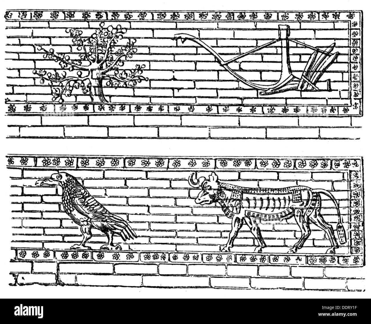 ancient world, Assyria, fine arts, mosaic, palace of King Sargon II, Dur Shurrukin, Iraq, 712 - 706 BC, wood engraving, 19th century, Additional-Rights-Clearances-NA - Stock Image