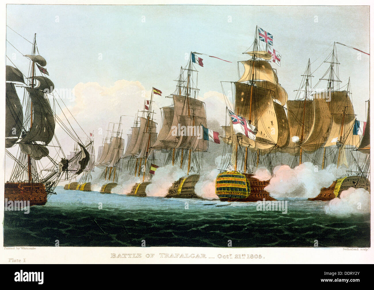 Battle of Trafalgar, October 21st 1805 (1816). Artist: Thomas Sutherland - Stock Image