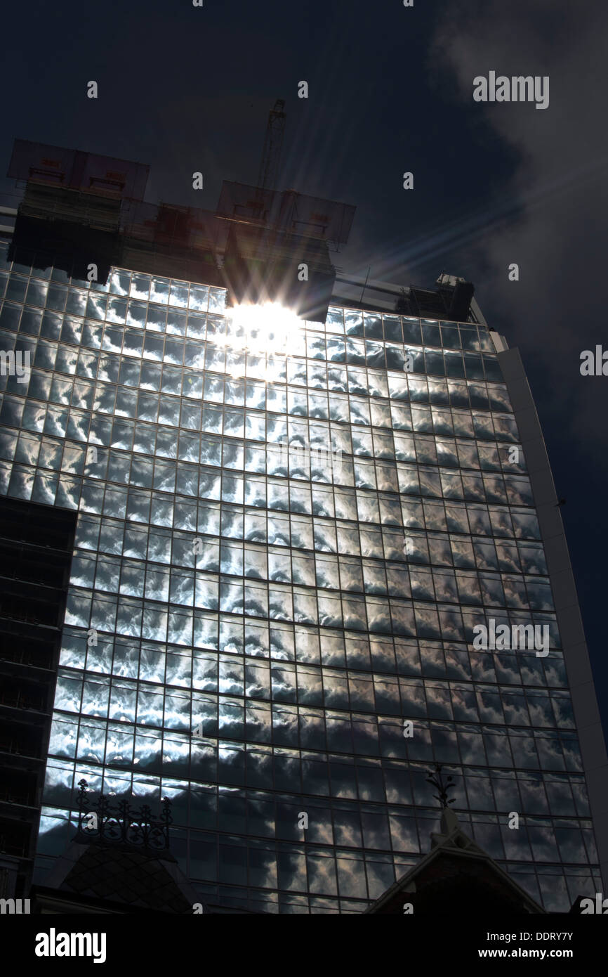 Walkie Talkie building in London that caused heat spot from concentric design glare on windows - Stock Image