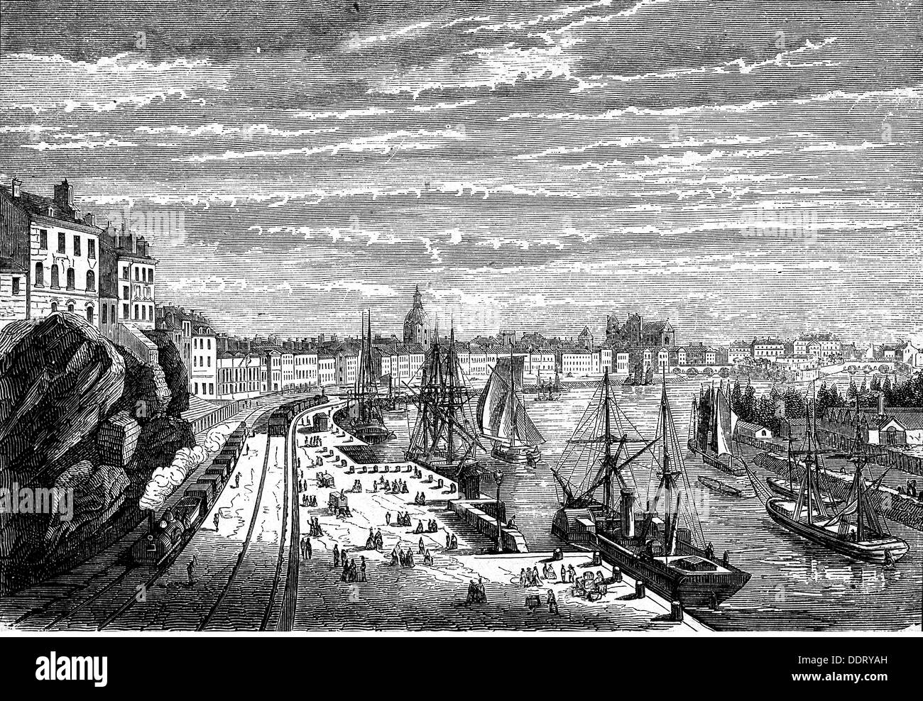 geography / travel, France, Nantes, harbour, view, wood engraving, 2nd half 19th century, city, transport, transportation, ships, ship, navigation, railway, railroad, railways, railroads, trade, river, rivers, Pays de Loire, Western Europe, harbour, harbor, harbours, harbors, port, ports, view, views, historic, historical, people, Additional-Rights-Clearences-NA - Stock Image