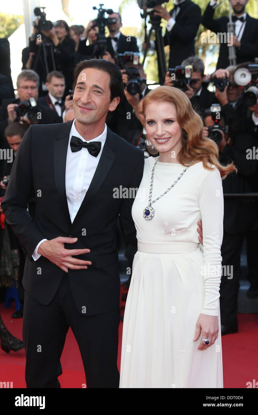 Actors Jessica Chastain and Adrien Brody attend the premiere of 'Behind The Candelabra' during the the 66th Cannes International Film Festival at Palais des Festivals in Cannes, France, on 21 May 2013. Photo: Hubert Boesl - Stock Image