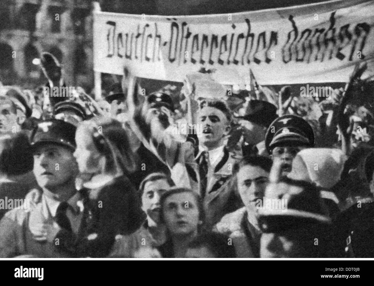 Nazism / National Socialism, politics, annexation of Austria 1938, Austrians at rally, 1938, 20th century, 1930s, Stock Photo