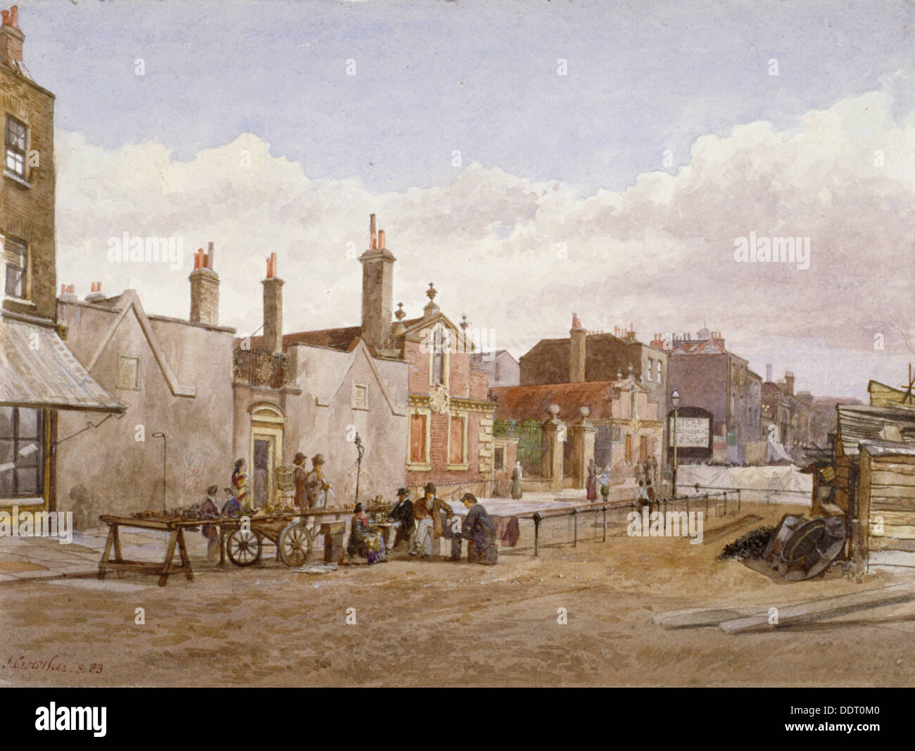 Skinners' Almshouses and Trinity Almshouses, Mile End Road, Stepney, London, 1883. Artist: John Crowther Stock Photo
