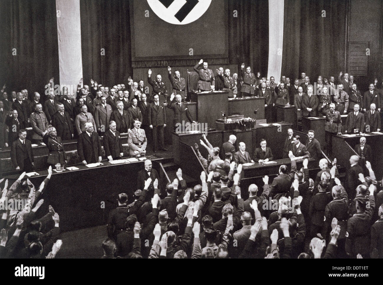 Chancellor Adolf Hitler making a speech before the Reichstag, Berlin, 17th May 1933. Artist: Unknown - Stock Image