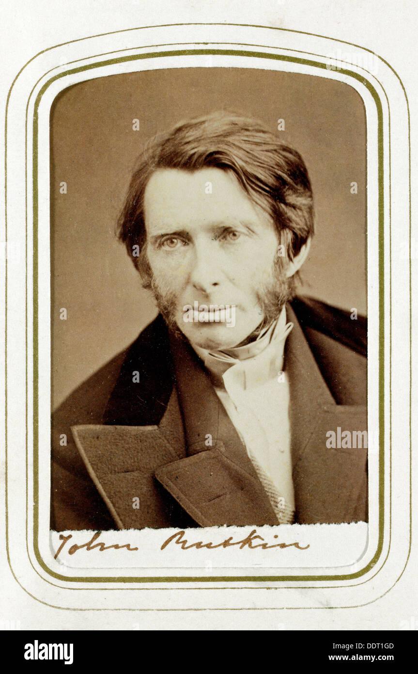 John Ruskin, English artist, poet and critic, 1865. Artist: Elliott & Fry Stock Photo