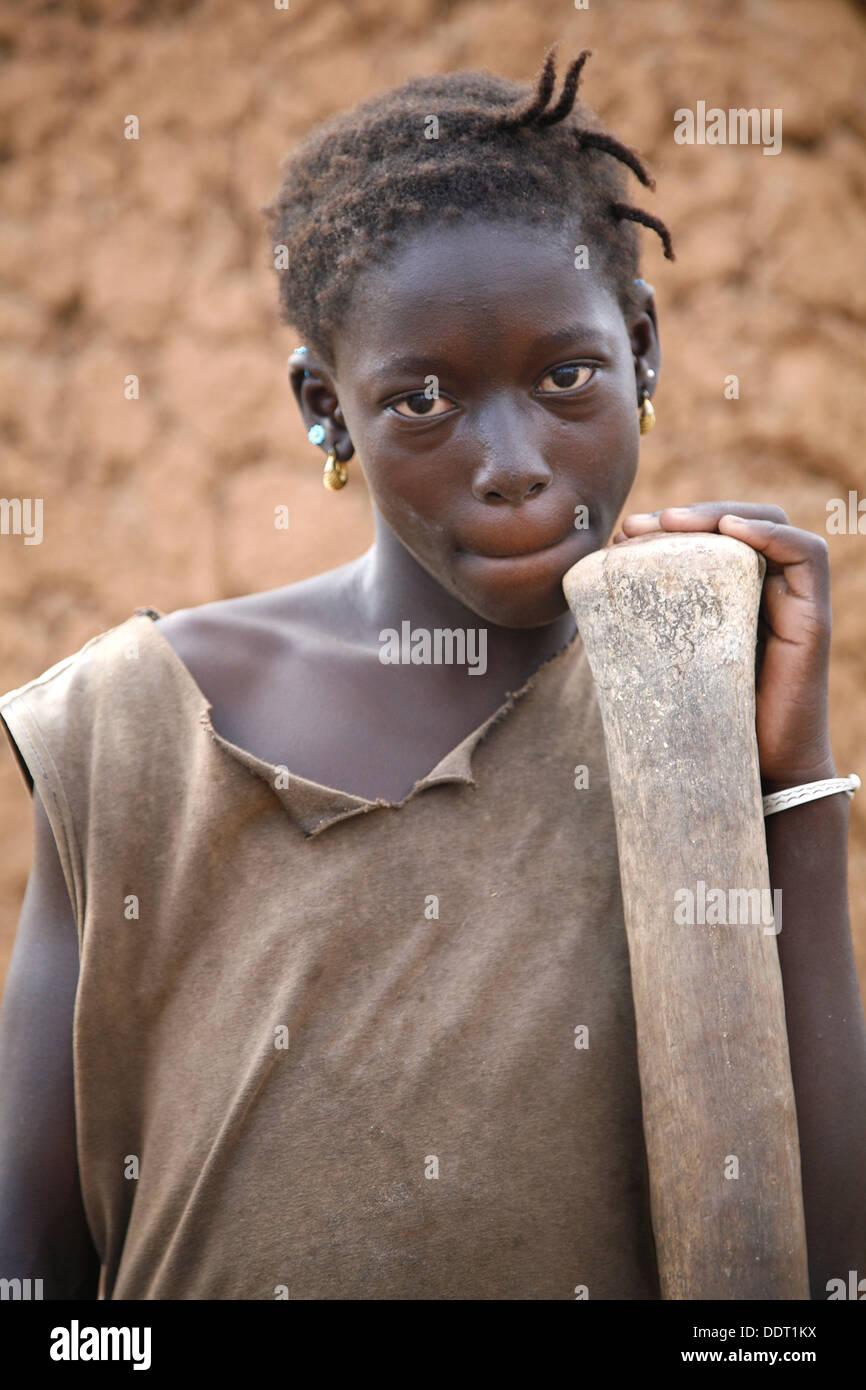 Senoufo young woman portrait. Sikasso region, Mali - Stock Image