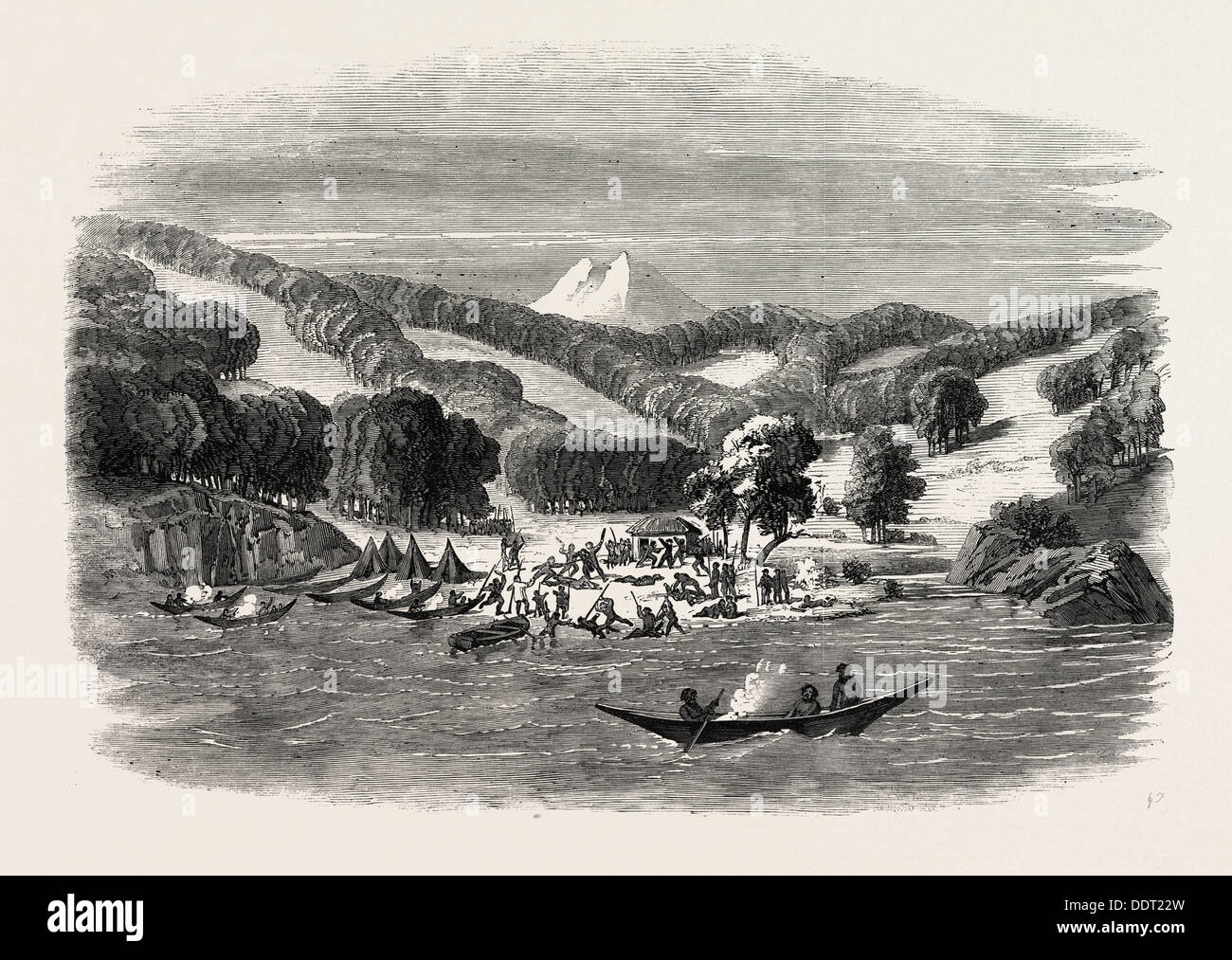 MASSACRE OF A MISSION PARTY OF THE ALAN GARDINER BY THE NATIVES AT WOOLYA, TIERRA DEL FUEGO, 1860 engraving - Stock Image