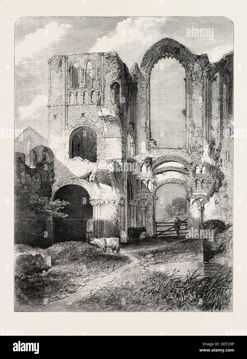 RUINS OF CASTLE ACRE PRIORY, NORFOLK, BY R.P. LEITCH. FROM THE ROYAL ACADEMY EXHIBITION, 1860 engraving - Stock Image