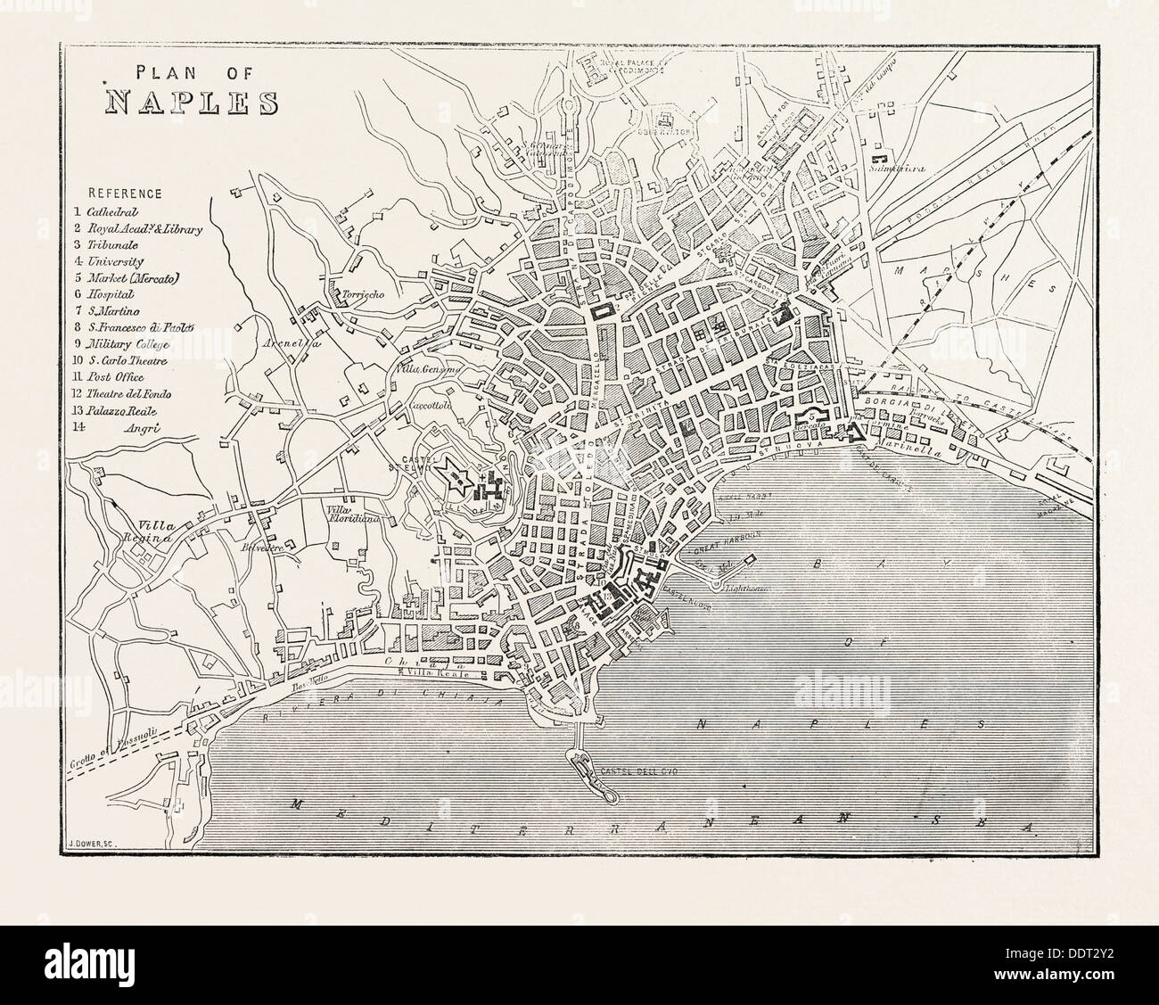 MAP OF NAPLES, ITALY, 1860 engraving - Stock Image