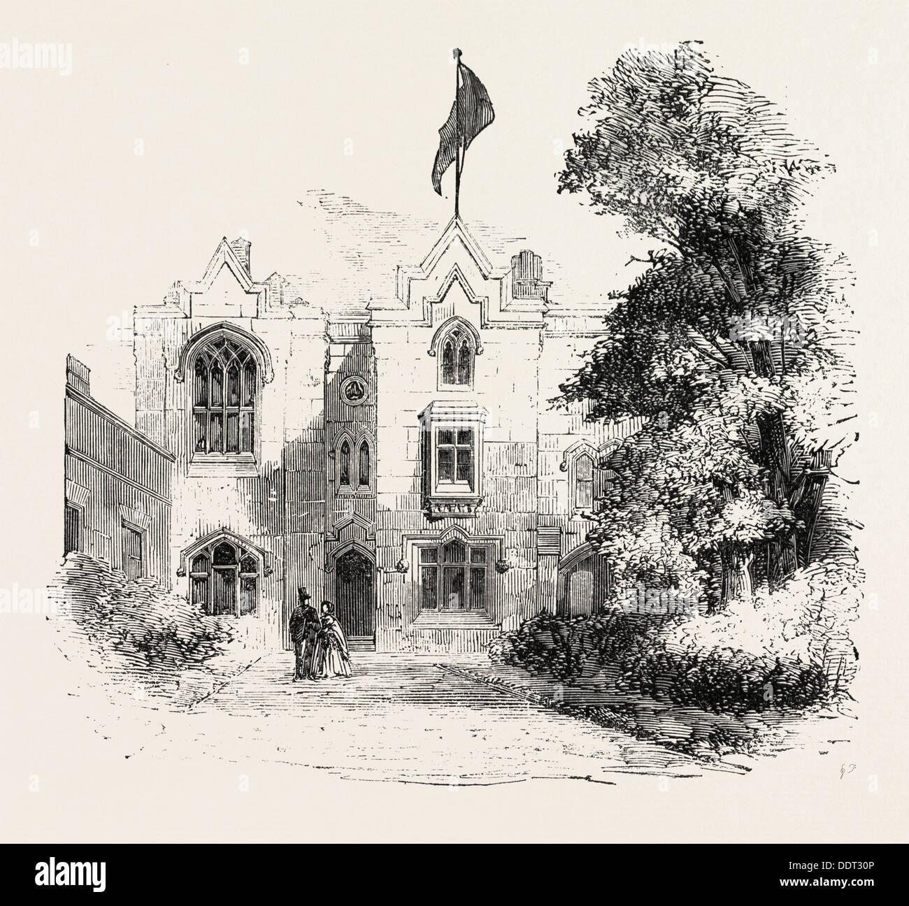 SCHOOL FOR DEAF AND DUMB INFANTS AT OLD TRAFFORD, MANCHESTER, UK, 1860 engraving - Stock Image